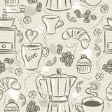 Beige seamless patterns with coffee set, coffee maker, muffin, cup, flower. Beige Background with coffee set. Ideal for printing. Onto fabric and paper or scrap stock illustration