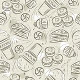 Beige Seamless Patterns with cupcake, ice cream, muffins, croissant, cake and cookie on grunge background. Ideal for printing onto. Fabric and paper or scrap vector illustration