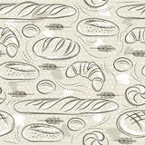 Beige seamless patterns with different breads, croissant, wheat. Ideal for printing onto fabric and paper or scrap booking.  vector illustration