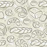 Beige seamless patterns with different breads, Easter bread, pretzel, bap and croissant. Ideal for printing onto fabric and paper. Or scrap booking stock illustration