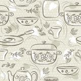 Beige seamless patterns with different tableware, flower, pot, saucepan, cup. Ideal for printing onto fabric and paper or scrap. Booking vector illustration