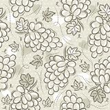 Beige Seamless Patterns with grapes on grunge background. Ideal for printing onto fabric and paper or scrap booking, vector.  vector illustration