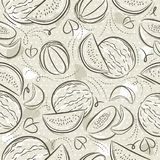 Beige Seamless Patterns with melon and watermelon on grunge background. Ideal for printing onto fabric and paper or scrap booking. Vector vector illustration