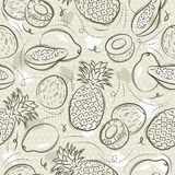 Beige Seamless Patterns with papaya, coconut and pineapple on grunge background. Ideal for printing onto fabric and paper or scrap. Booking, vector royalty free illustration