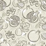 Beige Seamless Patterns with pomegranate, fig and blueberry on grunge background. Ideal for printing onto fabric and paper or. Scrap booking, vector stock illustration
