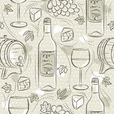 Beige seamless patterns with red wine set, cask, barrel, wineglass, grape and cheese. Ideal for printing onto fabric and paper or. Scrap booking royalty free illustration