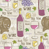 Beige seamless patterns with red wine set, cask, glass, grapes, Stock Image