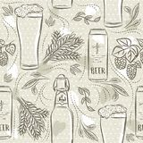 Beige seamless patterns with set of beer bottle, mug, barley and hop. Ideal for printing onto fabric and paper or scrap booking.  royalty free illustration