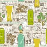 Beige seamless patterns with set of beer bottle, mug, hop, barle Stock Image