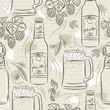 Beige seamless patterns with set of beer bottle, mug and hop. Ideal for printing onto fabric and paper or scrap booking. Beige seamless patterns with set of beer vector illustration