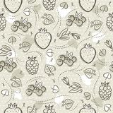 Beige Seamless Patterns with strawberry, blackberry, blueberry and raspberry on grunge background. Ideal for printing onto fabric stock images