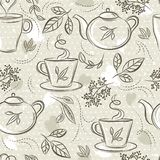 Beige seamless patterns with tea set, cup, teapot, leafs, flower and text. Background with tea set. Ideal for printing onto fabric. And paper or scrap booking vector illustration