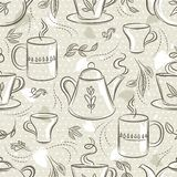 Beige seamless patterns with tea set, cup, teapot, leafs, flower and text. Background with coffee set. Ideal for printing onto fab. Ric and paper or scrap royalty free illustration