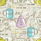 Beige seamless patterns with tea set, leafs, flower and text. Stock Images