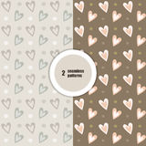 Beige seamless patterns. Vector. Hearts Royalty Free Stock Photo