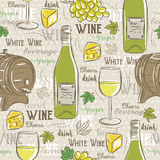 Beige seamless patterns with white wine set, cask, glass, grapes Royalty Free Stock Photo
