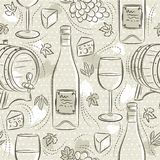 Beige seamless patterns with white wine set, cask, wineglass, barrel, grape and cheese. Ideal for printing onto fabric and paper. Beige seamless patterns with vector illustration