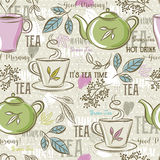 Beige Seamless Patterns With Tea Set, Leafs, Cup,kettle, Flower Stock Images