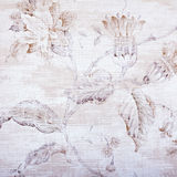 Beige shabby wallpaper with floral pattern Stock Images