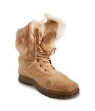 Beige Shammy fur  boot Stock Photography