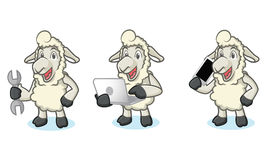 Beige Sheep Mascot with phone Royalty Free Stock Photos