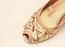 Beige shoe with bow Royalty Free Stock Photos