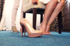 Beige shoes of the bride Royalty Free Stock Image