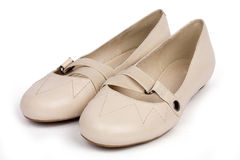 Beige shoes for girl Royalty Free Stock Images