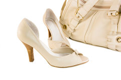 Beige shoes and handbag Stock Photo