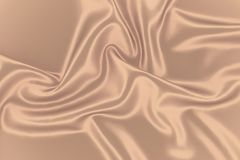 Beige silk background. Fabric golden texture.Sepia smooth romantic curtain backdrop. Stock Photo