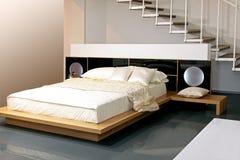 Beige slaapkamer Stock Foto's