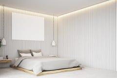 Beige slaapkamer met een affiche, hoek Stock Foto
