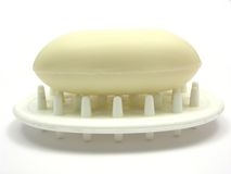 Beige soap on a soap dish Royalty Free Stock Photos