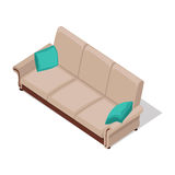 Beige Sofa Illustration in Isometric Projection Stock Photo