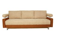 BEIGE SOFA ISOLATED ON WHITE BACKGROUND Stock Photo