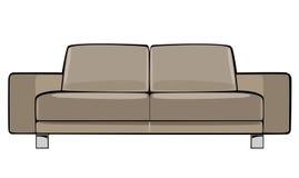 Beige soffa för vektortecknad film som isoleras på vit Arkivbild