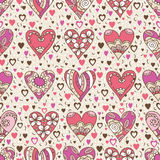 Beige square background with  pink decorative valentine hearts. With flowers,  vector illustration Stock Photos