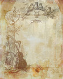 Beige Stained textured paper. With musical instruments Stock Images