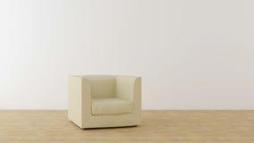 Beige stol i ett ljust rum Fotografering för Bildbyråer