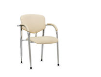 beige stol isolerat läderkontor isolerat Fotografering för Bildbyråer