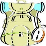 Beige stor ryggsäck med en kompass Loppryggsäck för att fotvandra i vektor Royaltyfria Foton