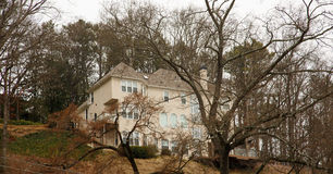 Beige Stucco Home on Winter Hill Stock Image