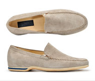Beige suede mens shoes. Stock Images