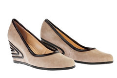 Beige suede platform shoes Stock Photo