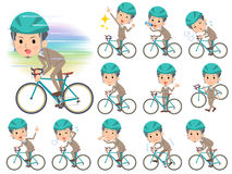 Beige suit short hair beard man on rode bicycle. Set of various poses of Beige suit short hair beard man on rode bicycle Royalty Free Stock Image