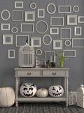 Beige table with  decorations for Halloween Stock Photo