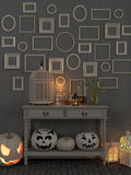 Beige table with luminous decorations for Halloween stock illustration
