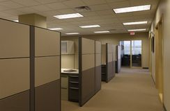 Beige Tan generic open Office work space cubicals Royalty Free Stock Photography