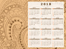 Beige tangle zen pattern calendar year 2018. Business english calendar for wall on year 2018 on the gradient background with hand drawn tangle zen pattern. Week Stock Photo