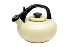 Beige tea kettle on white background royalty free stock photos